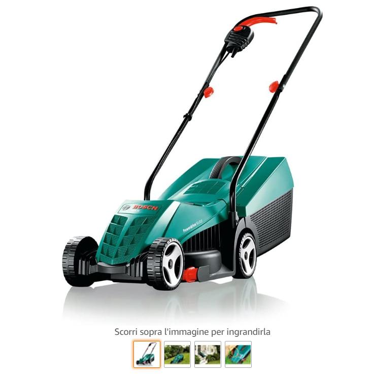 Scheda prodotto Amazon: immagine del prodotto. Tagliaerba verde, con immagine principale e immagini secondarie