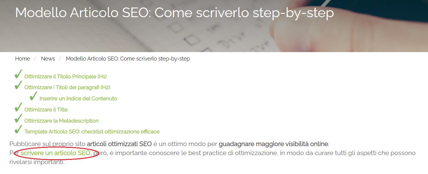 Uno screenshot di un articolo blog Melascrivi, in cui è presente l'anchor text Scrivere un articolo SEO