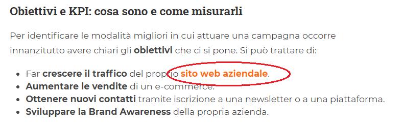 Uno screenshot di un articolo blog AdIntend, in cui è presente l'anchor text Sito web aziendale