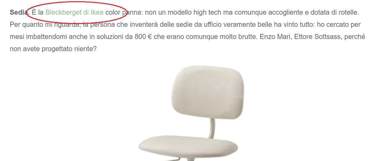 Uno screenshot di un articolo blog, in cui è presente l'anchor text che rimanda al sito IKEA