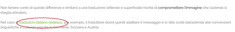 Screenshot di un articolo blog Melascrivi che contiene un link di collegamento a un altro articolo, indicato dall'achor text Traduzioni italiano-tedesco