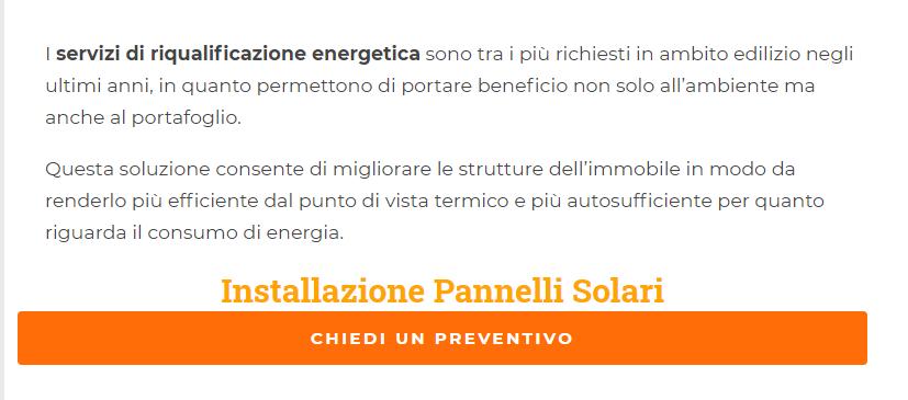 Ancora con call to action su preventivo per installazione pannelli solari