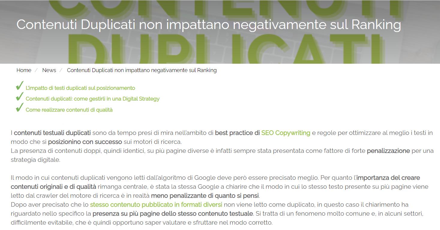 Screenshot dell'incipit dell'articolo 'Contenuti Duplicati non impattano negativamente sul Ranking' di Melascrivi