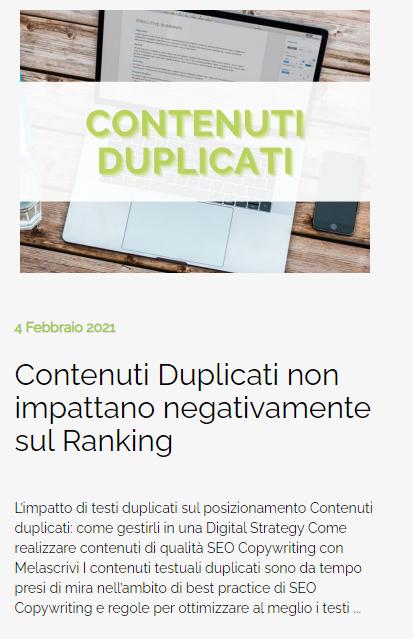 Anteprima dell'articolo 'Contenuti Duplicati non impattano negativamente sul Ranking' pubblicato da Melascrivi nella sezione News del sito