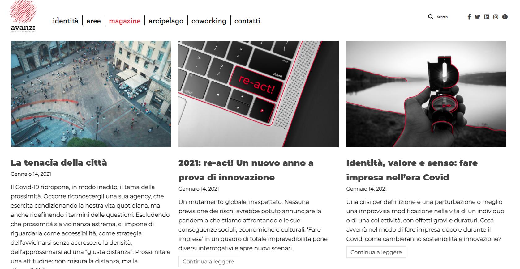 Sezione Magazine del sito web di Avanzi