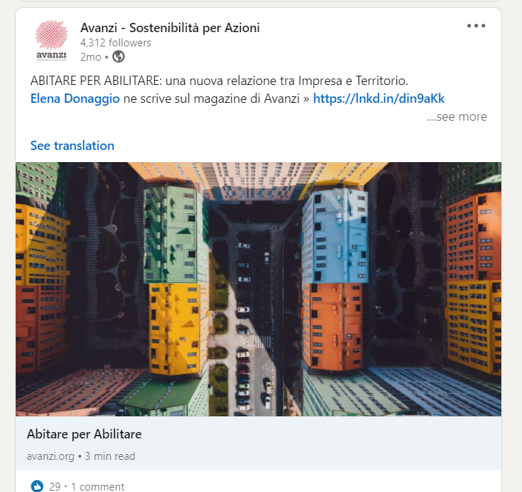 Post Linkedin di Avanzi