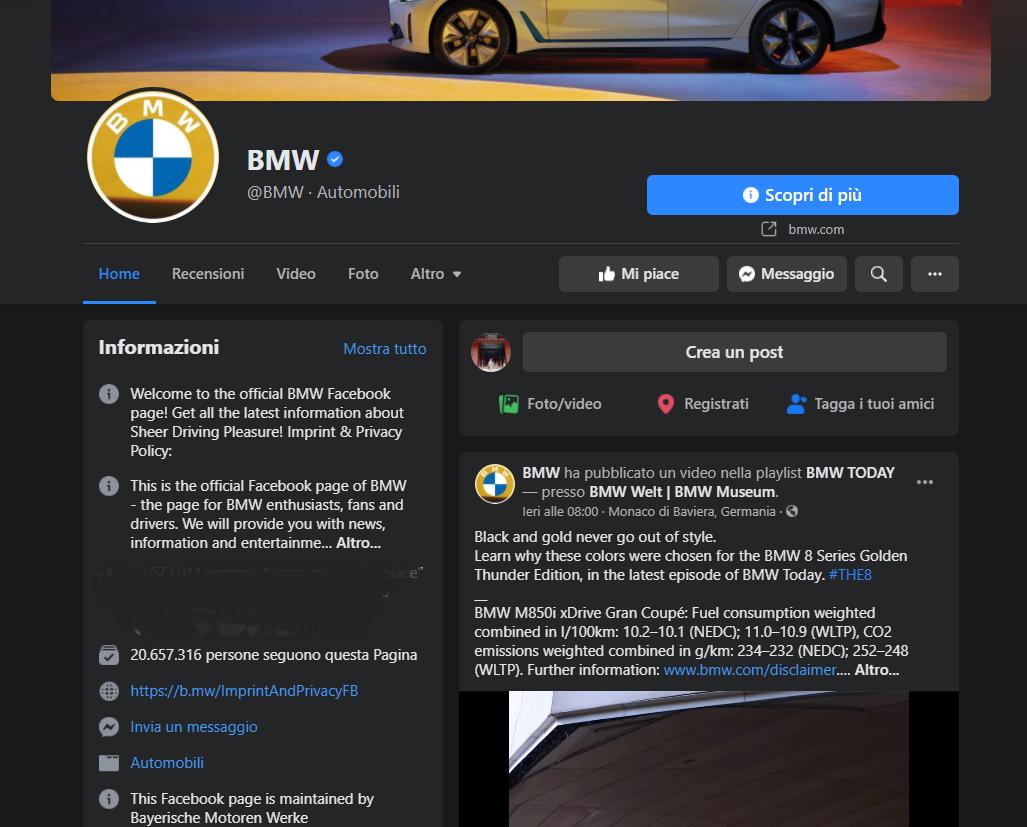 Pagina Facebook di BMW