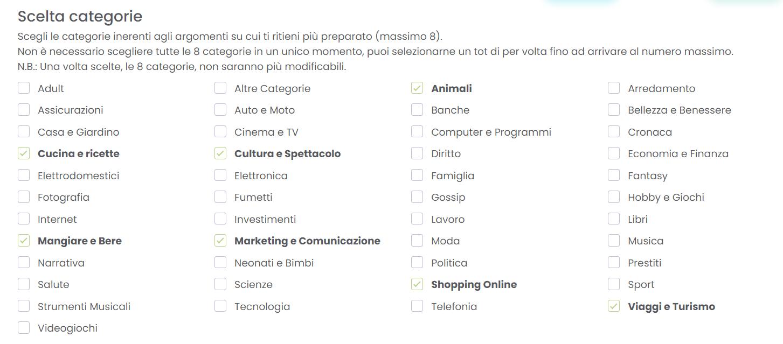 Pagina che visualizza l'elenco delle categorie tematiche per cui è possibile scrivere su Melascrivi