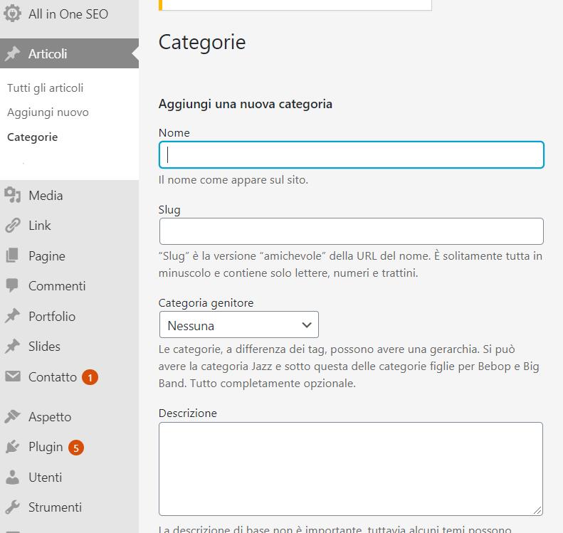 Inserimento di Categorie su Wordpress