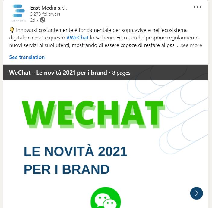 Post instagram di East Media a tema We Chat
