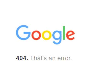 L'avviso di Google che riporta un errore 404