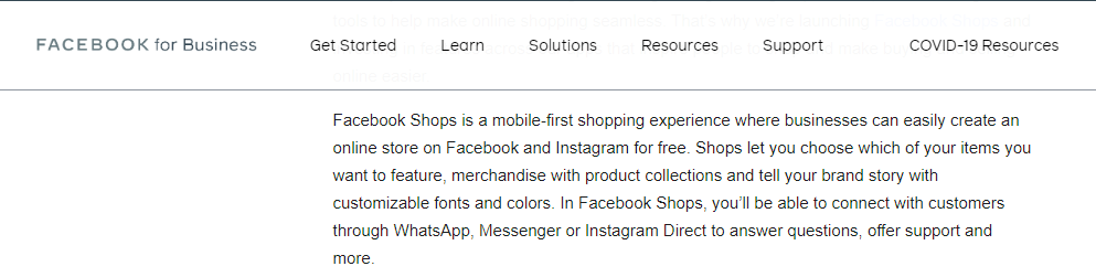 facebook for businesses shops