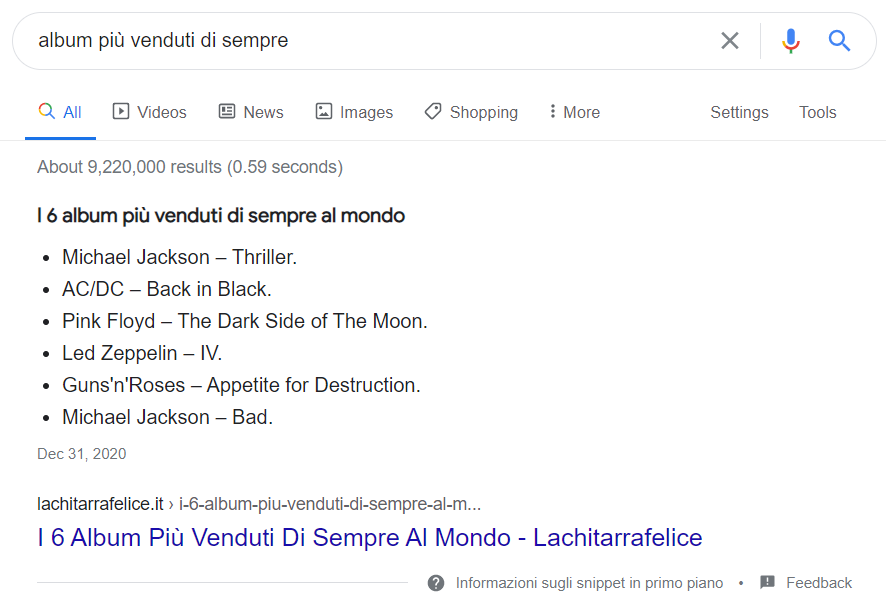 Featured Snippet Lista Album più venduti di sempre