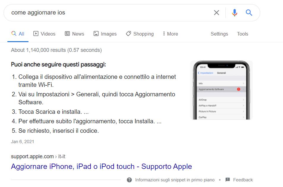 Featured Snippet Lista: passaggi aggiornamento IOS