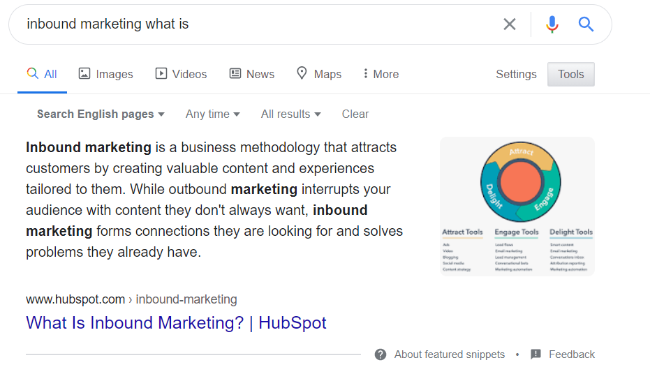 Featured Snippet Testo: what is inbound marketing