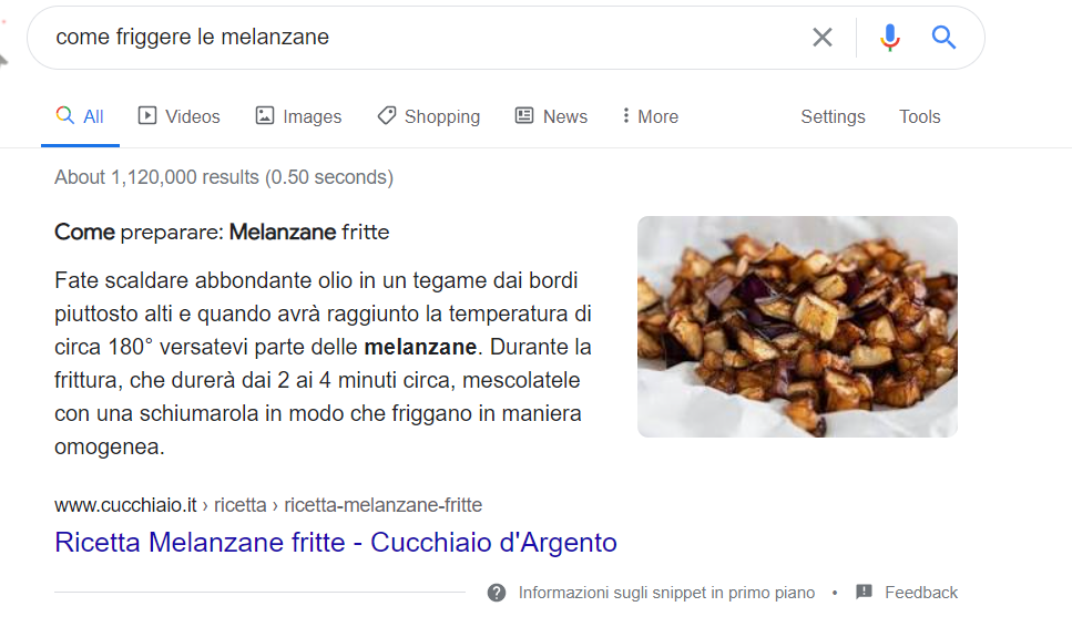 Featured Snippet Testo: come friggere le melanzane
