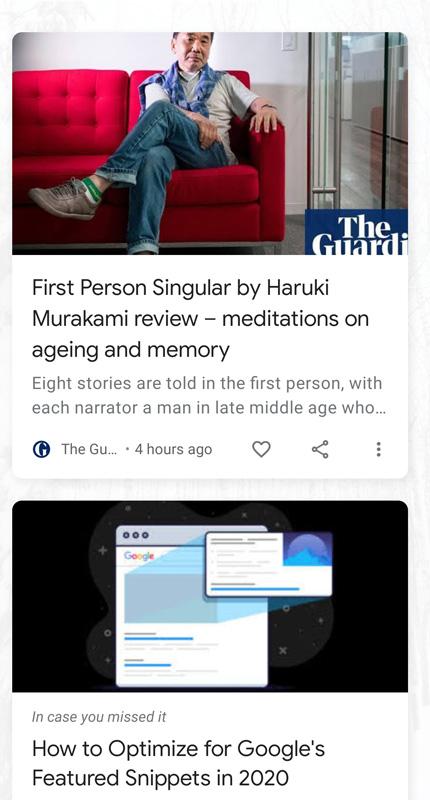 Esempio di feed google discover con articoli di cultura e media