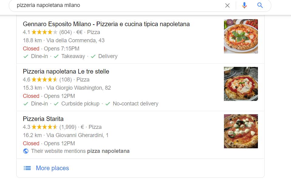 Risultati di Google My Business per Pizzeria Napoletana Milano