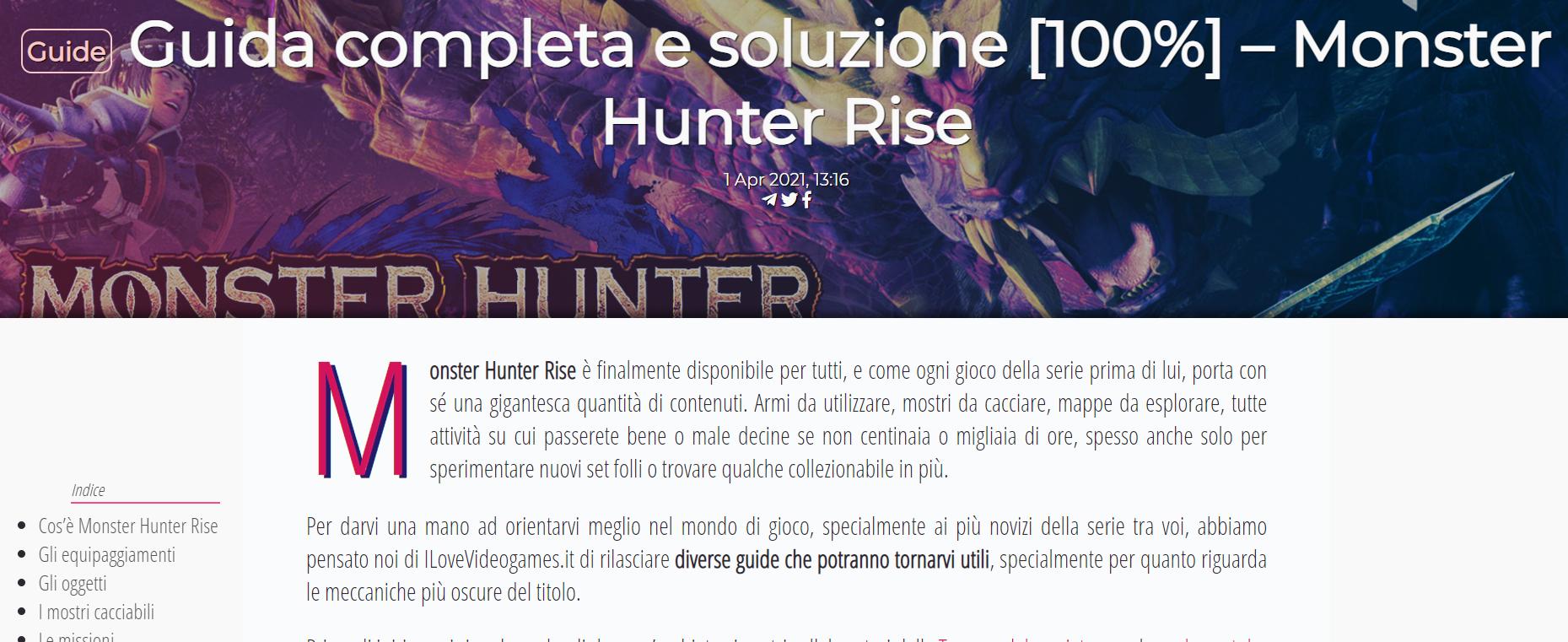 Incipit del contenuto Guida completa e soluzione Monster Humter Rise dal sito ilovevg.it