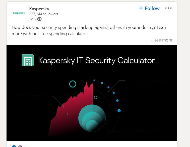 Post Linkedin Kaspersky con video
