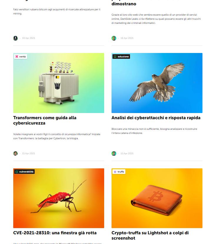 Sezione blog del sito web Kaspersky