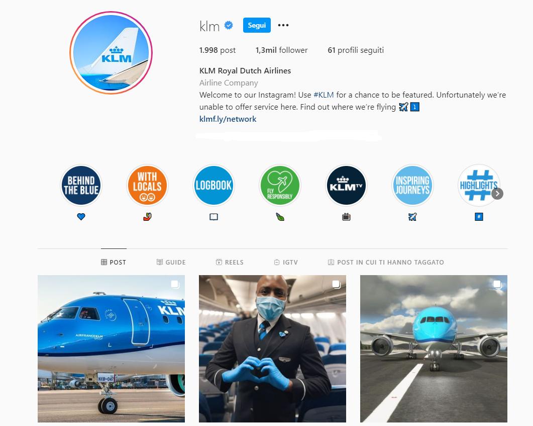 Il profilo Instagram della compagnia aerea KLM, con intestazione e prime immagini del feed