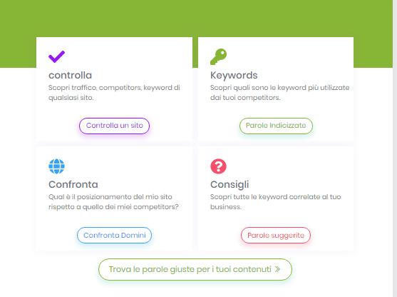 Schermata iniziale di Melakeys SEO Tool con descrizione dei servizi presenti
