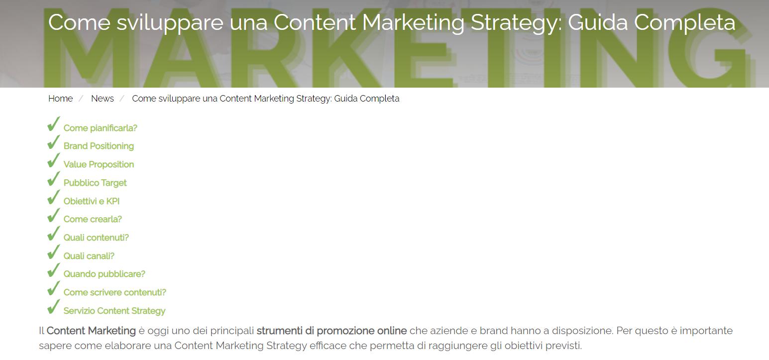 Screen shot dal sito di Melascrivi, incipit dell'articolo guida a Come creare una content marketing strategy