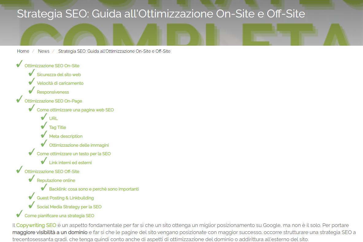 Incipit dell'articolo Strategia SEO: Guida all'Ottimizzazione On-Site e Off-Site nella sezione News del sito di Melascrivi