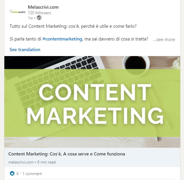 Post Linkedin di Melascrivi in cui viene condiviso un articolo sul Content Marketing