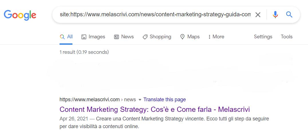 Risultati SERP per veirfica con operatore site della pagina Melascrivi su Content Marketing Strategy