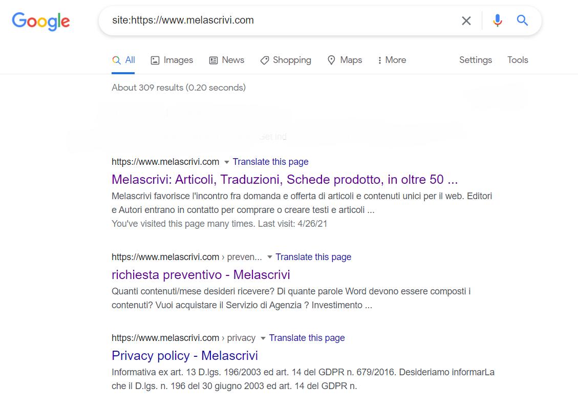 Risultati in SERP per la ricerca del dominio Melascrivi con operatore di ricerca site