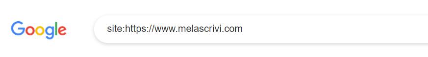 Operatore site utilizzato nella barra di ricerca di Google per verificare il dominio Melascrivi