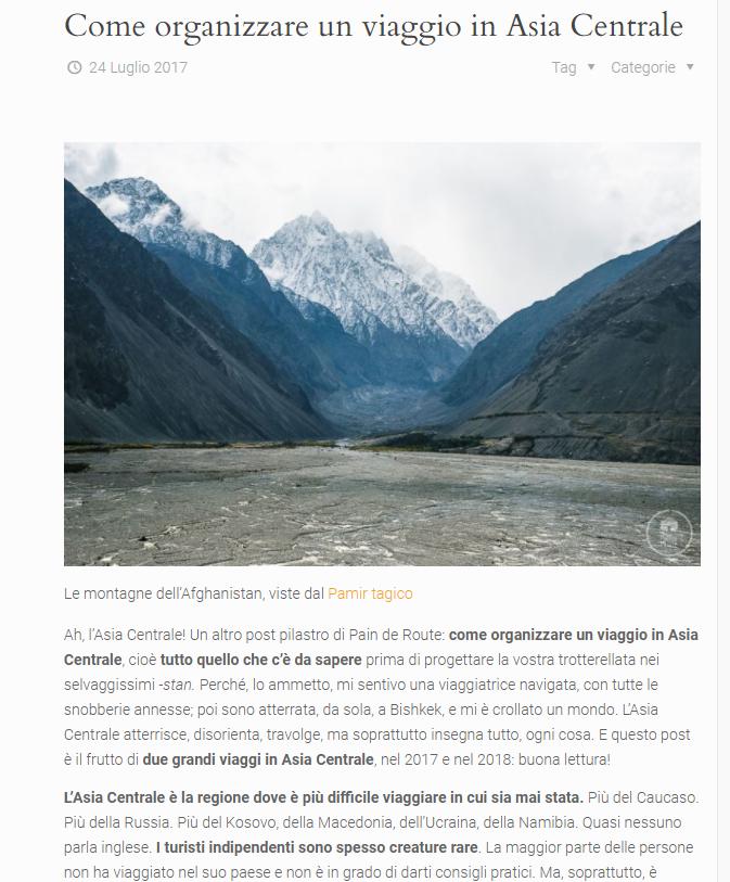 Screenshot della Guida a Come Organizzare in viaggio in Asia Centrale, tratto dal sito www.painderoute.it