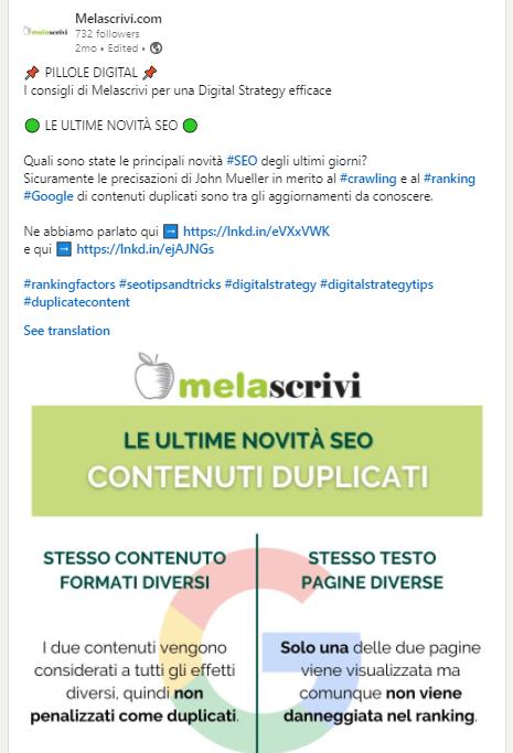 Post Linkedin di Melascrivi con infografica dedicata a contenuti duplicati