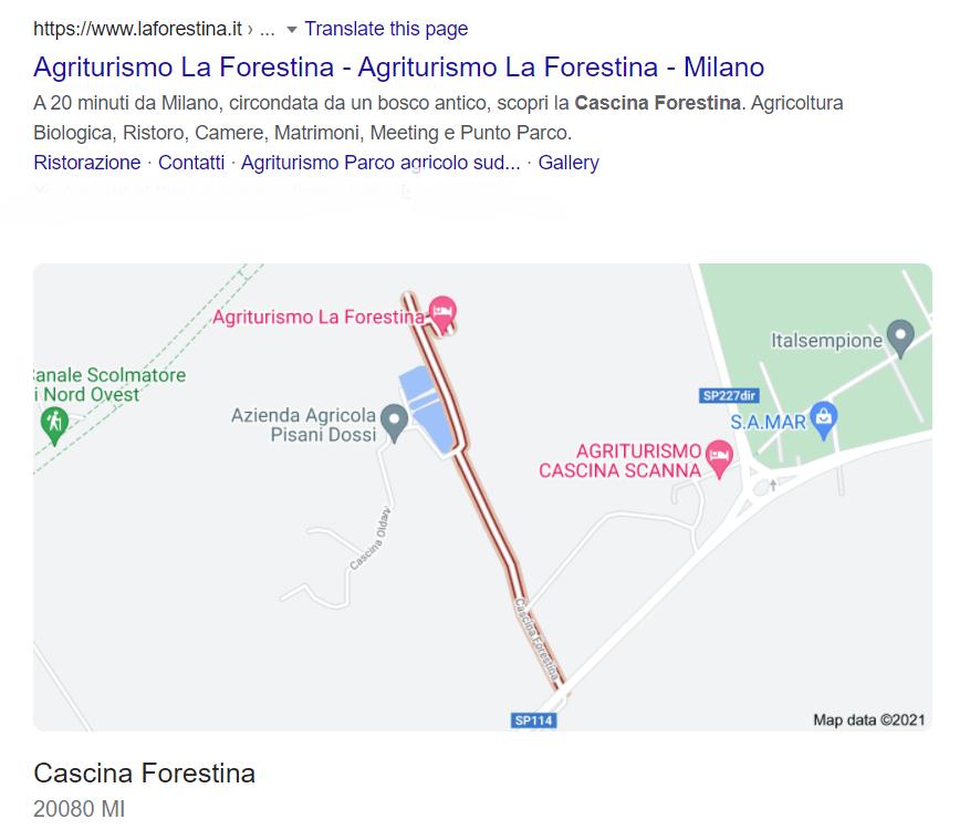 Risultato Google con mappa per Cascina Forestina