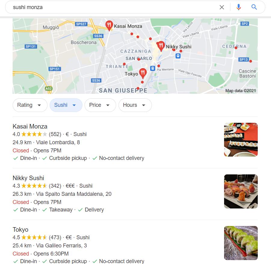 Risultato con mappa per Sushi Monza
