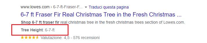 Rich Snippet: Ulteriori Specifiche. Esempio con l'altezza di un albero di Natale (Fir Real Christmas Tree)