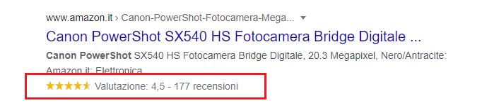 Rich Snippet: Rating. Esempio di Canon Power Shot SX540 HS Fotocamera