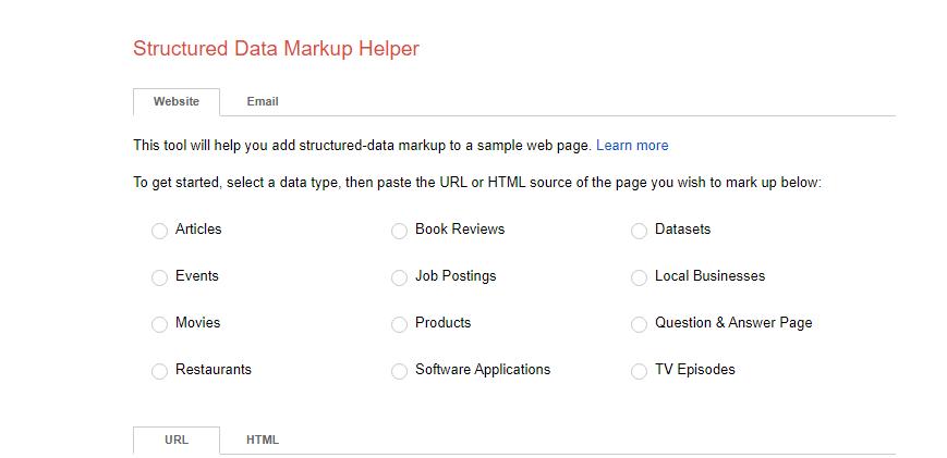 Impostazione di dati strutturati attraverso un marcatore. Schermata di impostazione e selezione.