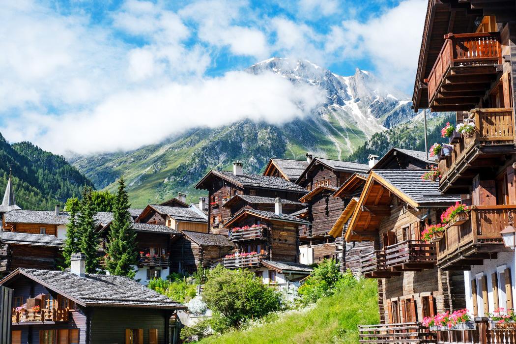 Il paesino di Grimentz, nel cantone svizzero di Valais