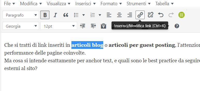 Inserimento Link su WordPress tramite selezione anchor text