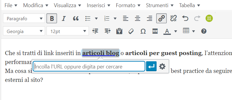 Inserimento Link su WordPress tramite selezione anchor text e inserimento collegamento